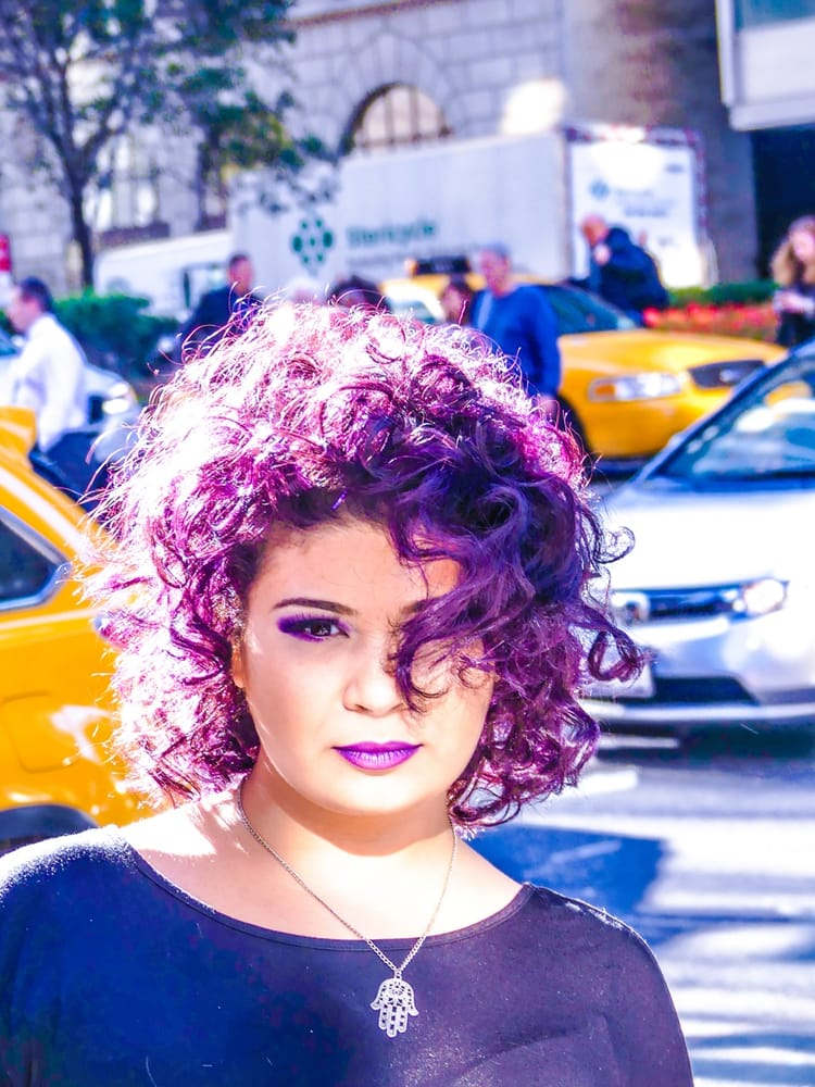 Urban Chic Purple Highlights On Curly Wild Hair Color By Christina