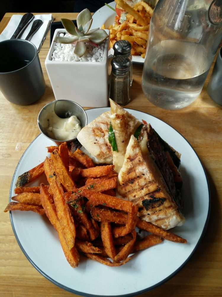 Bronte Burger And Sweet Potato Fries Yumm Yelp