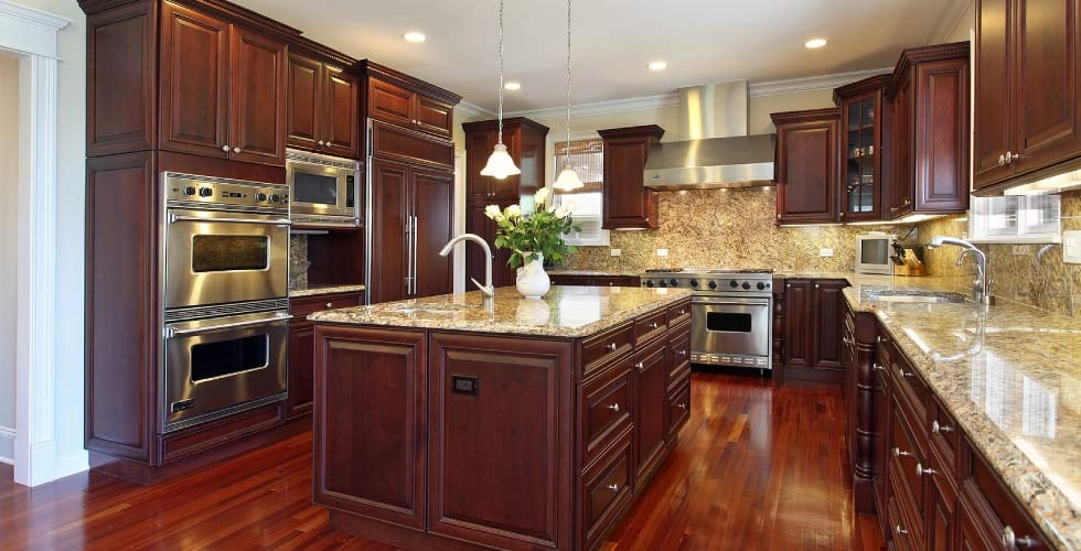 Kitchen With Solid Wood Floor Cherry Cabinets Vegetable Sink And