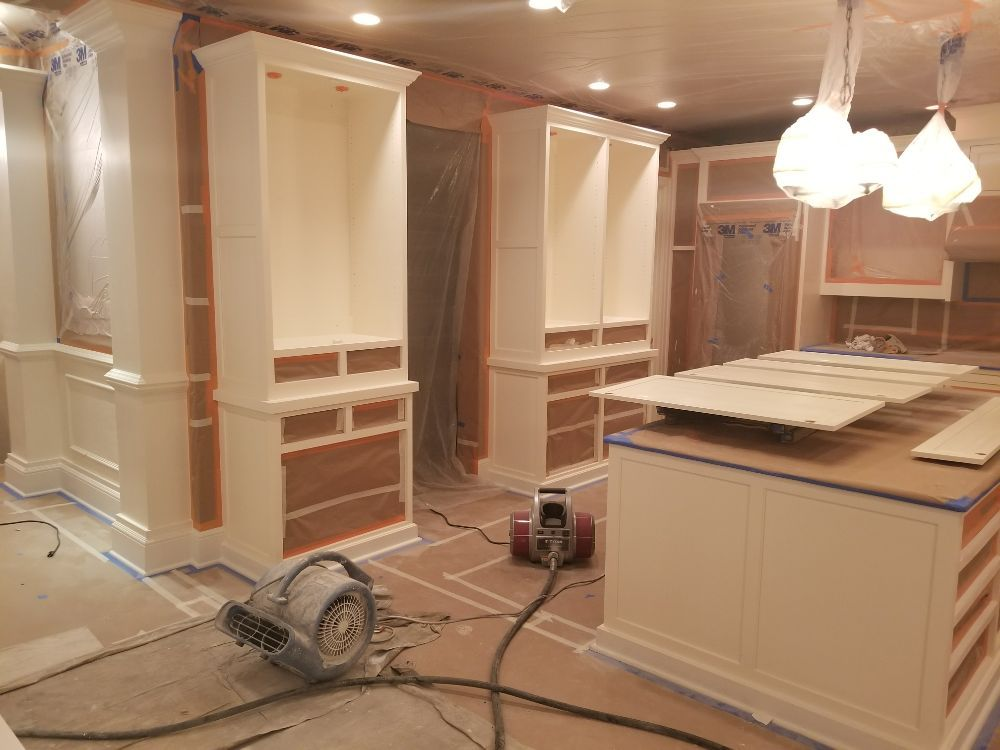 repainting kitchen cabinets with VHLP sprayer for best ...