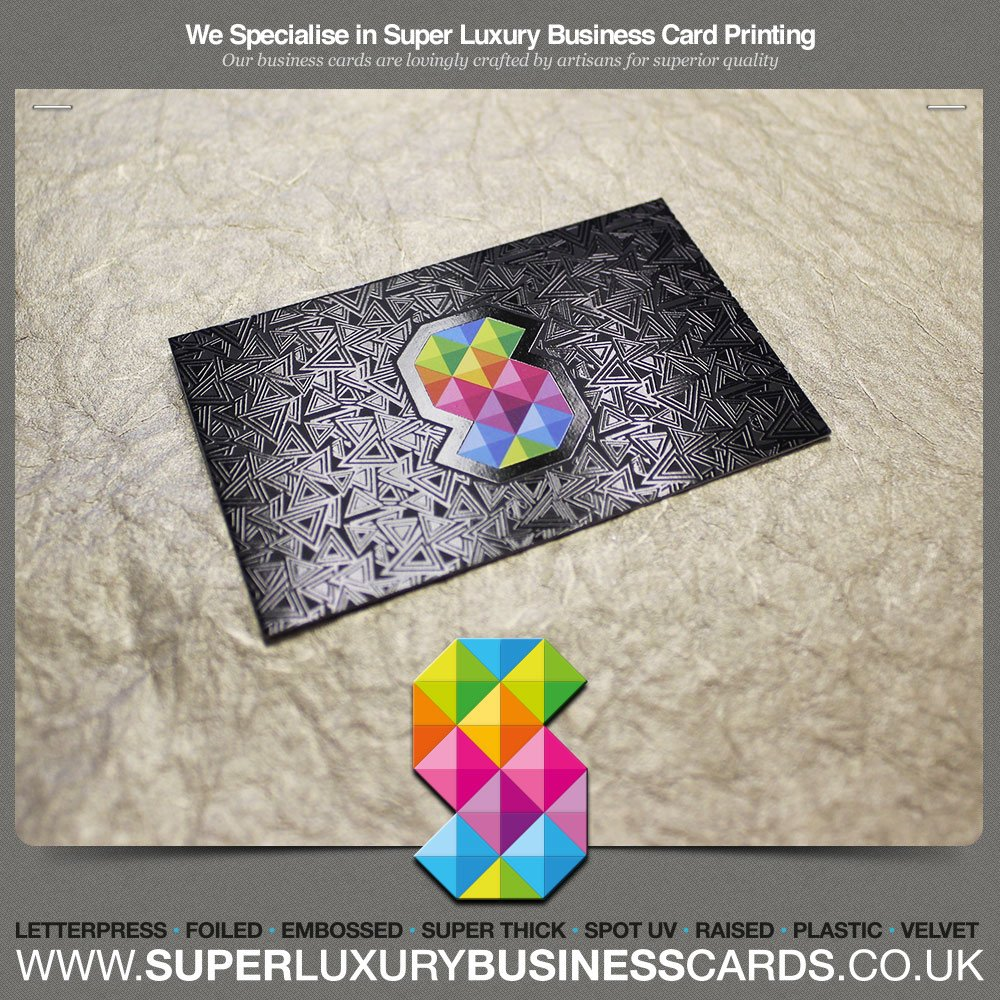 Printed luxury business cards triple layer spot uv gloss with photo of super luxury business cards manchester united kingdom printed luxury business cards reheart Images