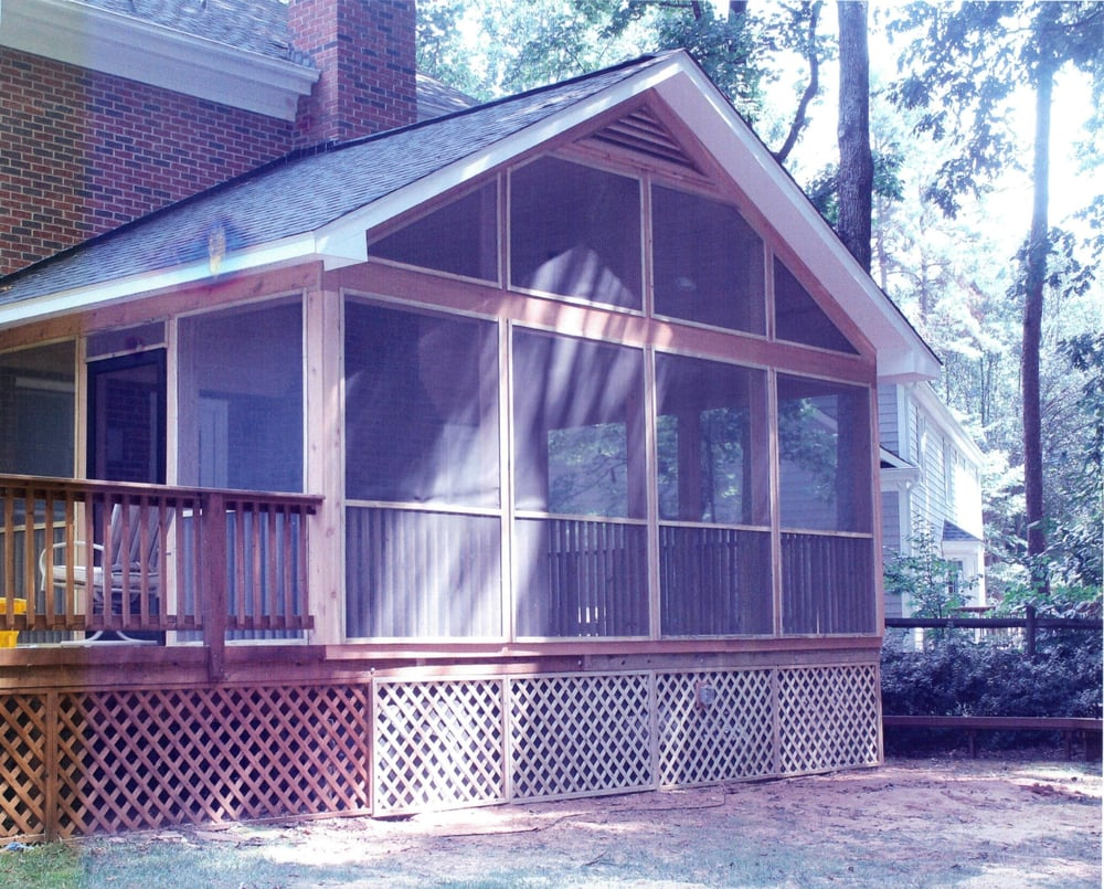 14 X 22 Screened Porch With Cedar Wrapped Trim And
