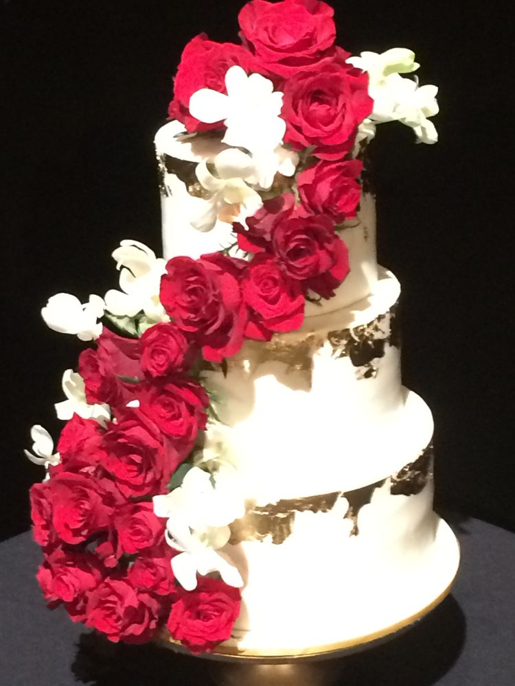 Gold Leaf And Red Roses Wedding Cake Yelp