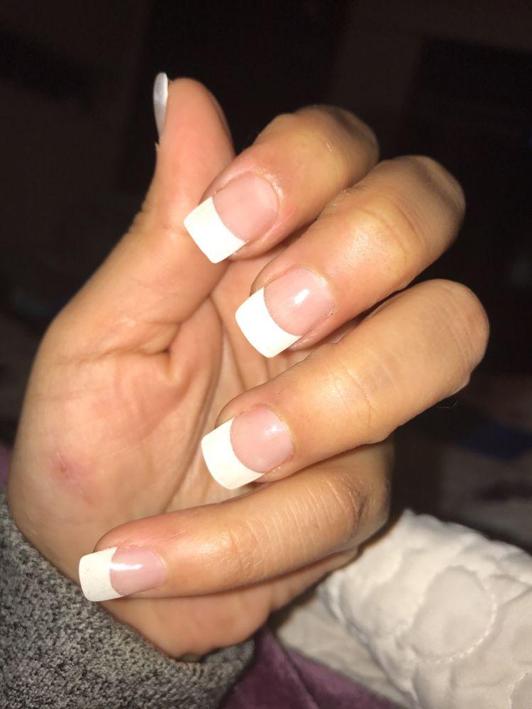 Full set White tip acrylic nails. $45 - Yelp