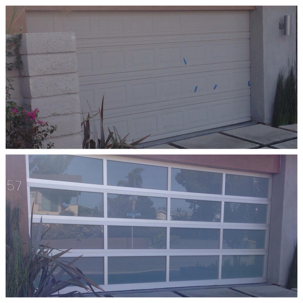 Before and after of aluminum glass door we did in costa for United states aluminum corporation doors