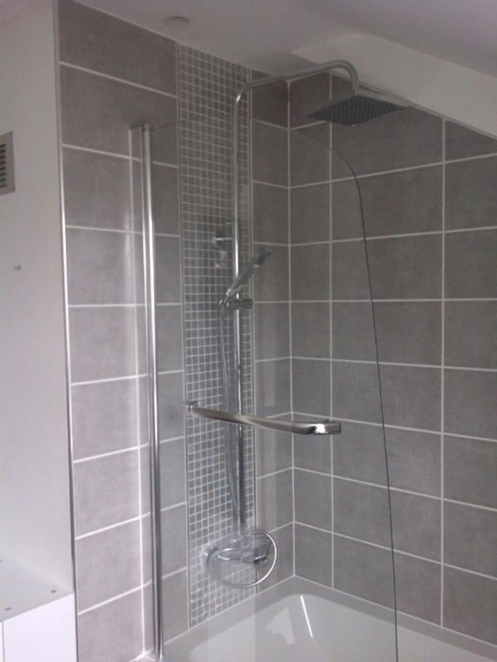 Rain Head Shower Over Bath Installed With Screen And Grey Tiles For A Very Modern Look Yelp