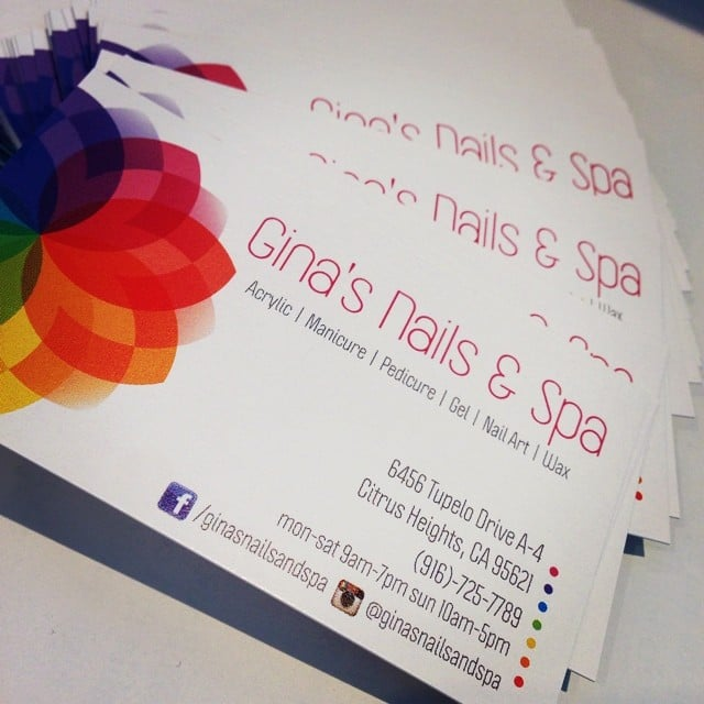 Got our business cards in check us out on facebook and instagram yelp 228 photos for ginas nails spa reheart Choice Image