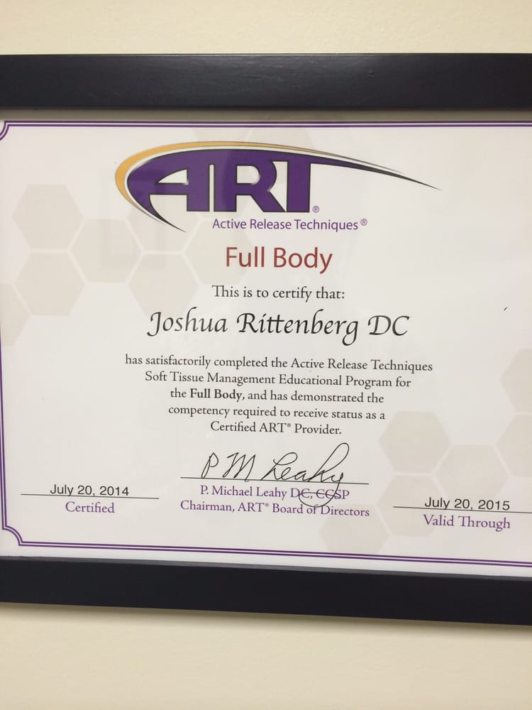 Both Dr Rittenberg And Joel Lloret Lmt Are Certified In The Active