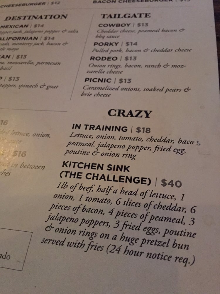 Kitchen Sink menu challenge....crazy! - Yelp
