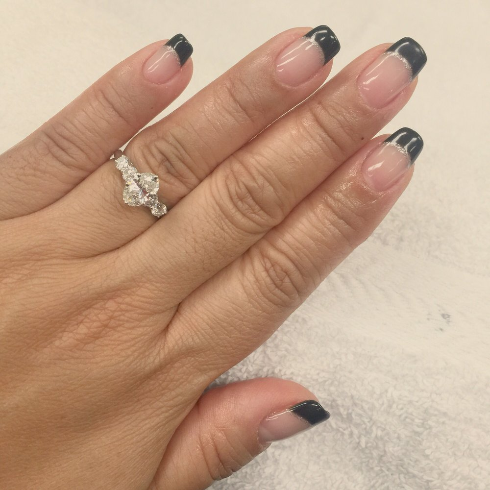 French manicure with black tip and silver lining - Yelp