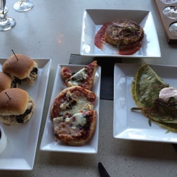 Sliders, flatbread, risotto cake, and pesto crepe - Yelp