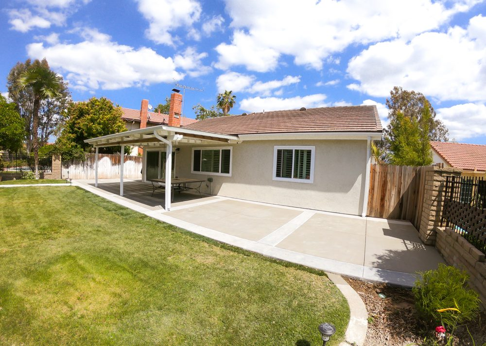Brand new concrete, patio awning, rain gutters, irrigation