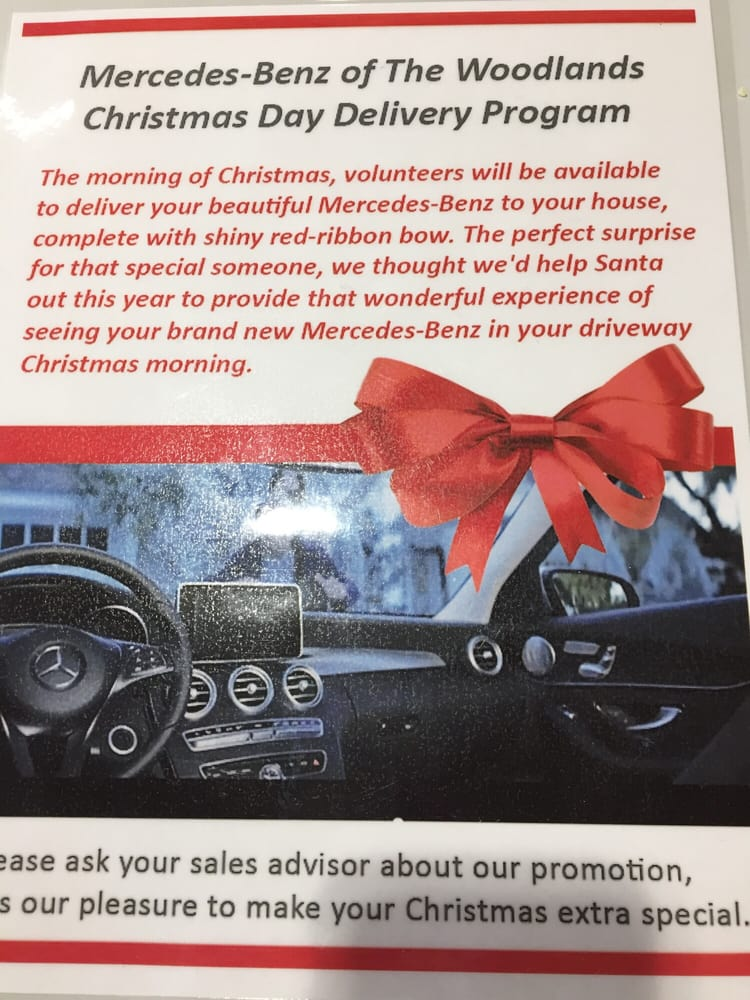 I love the idea of a car delivered on christmas day with a for Mercedes benz woodlands