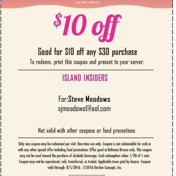 Bahama breeze restaurant coupons