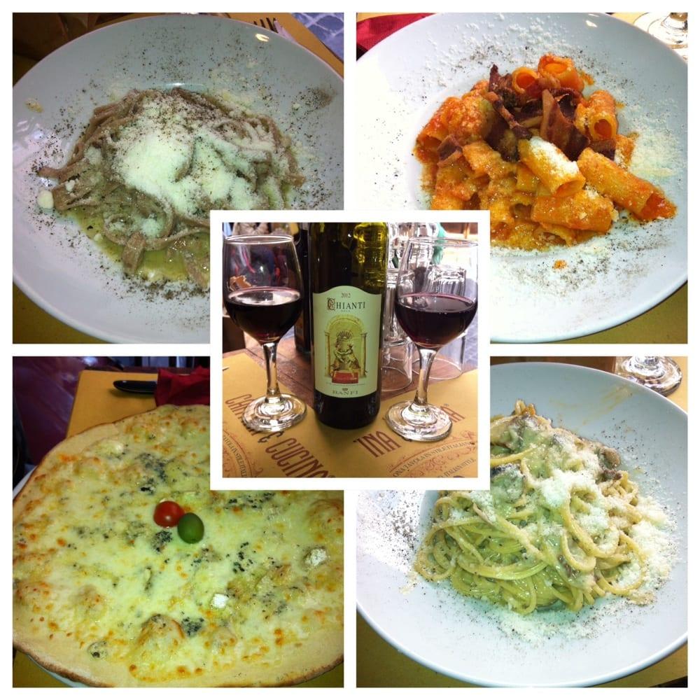 Last meal in rome amatriciana top right cacio e pepe left top 4 cheese pizza carbonara - Cucina e cantina ...