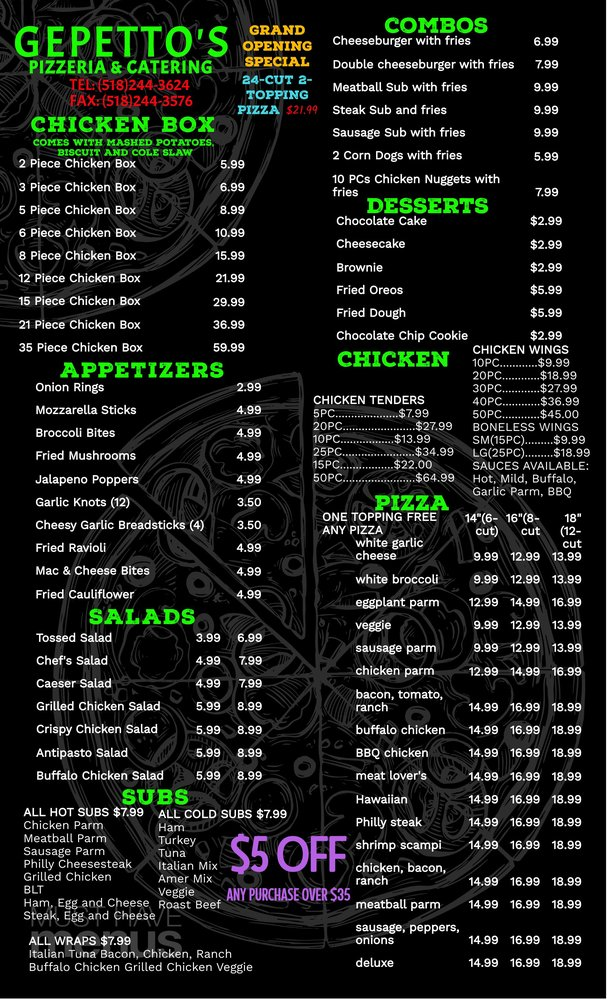 Gepettos Pizzeria and Catering: 20 White St, Cohoes, NY