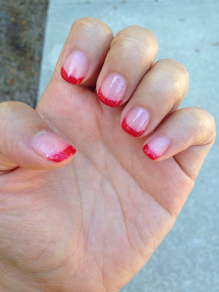 Red French tip gel manicure - Yelp