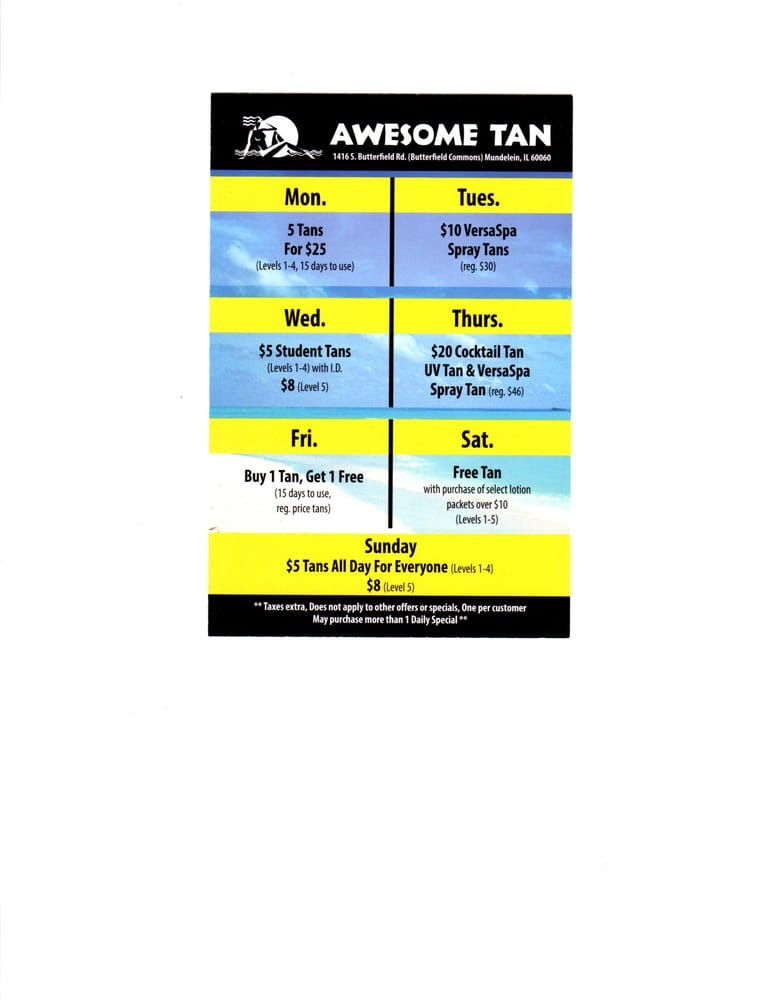 Awesome Tan Spray Tanning 1416 S Butterfield Rd Mundelein Il
