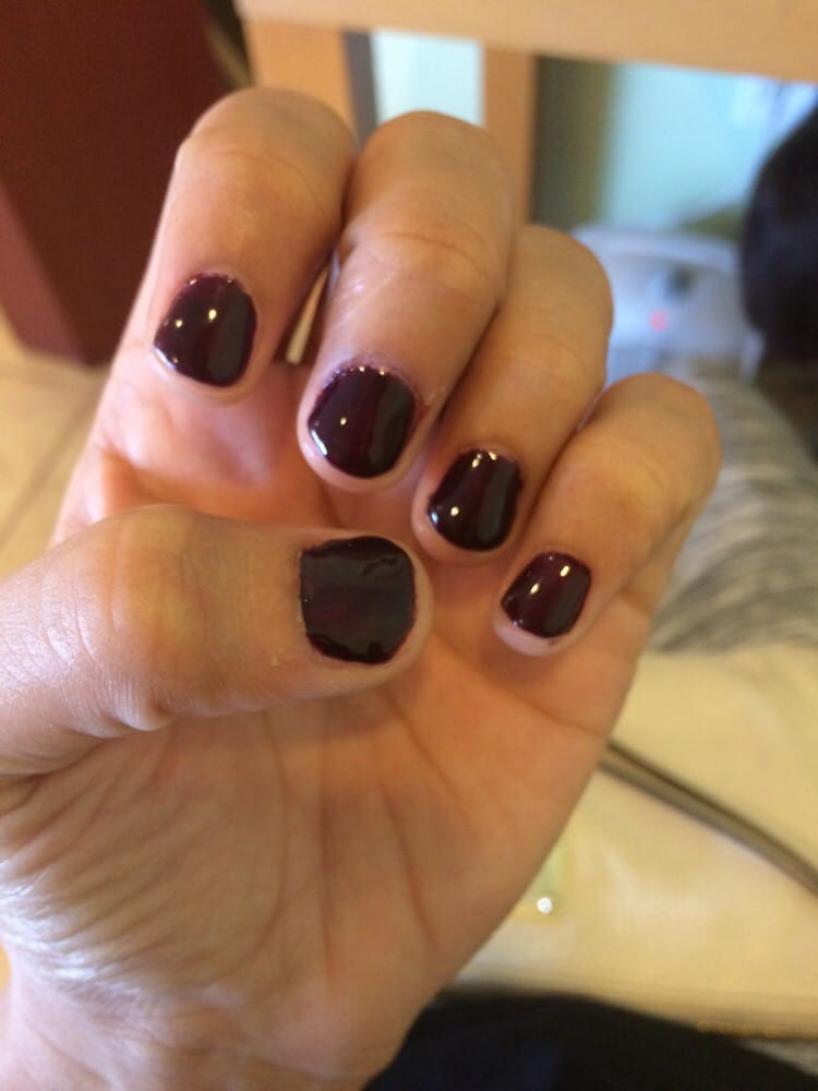 Misshapen nails uneven color polish all over skin yelp for 10 over 10 nail salon