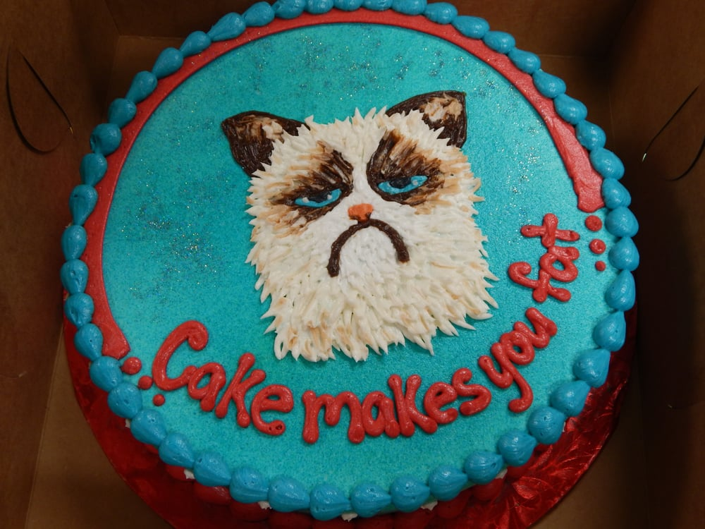 the grumpy cat cake makes you fat cake in red velvet