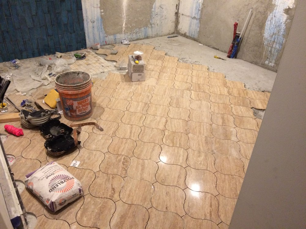 New Basement Bathroom Floor Tile Install Yelp
