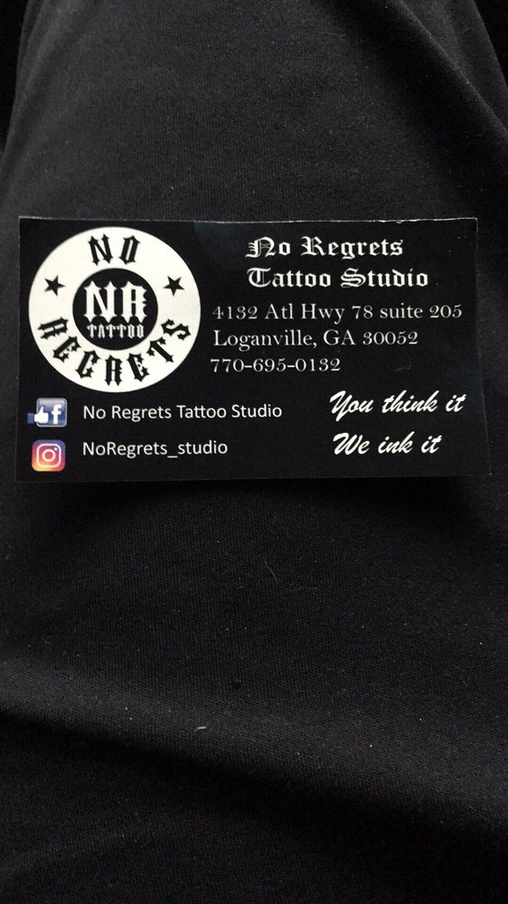 No Regrets Tattoo Studio: 4132 Atlanta Hwy, Loganville, GA