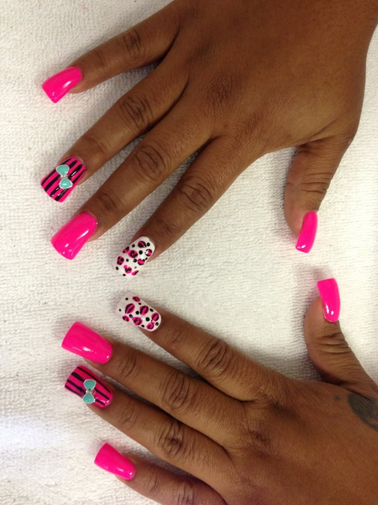 Duck feet acrylics, nail design, and 3D bow by LILY - Yelp