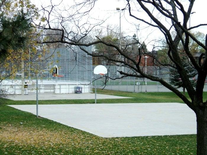 Outdoor Basketball Court Tennis Court And Baseball Diamond Beyond