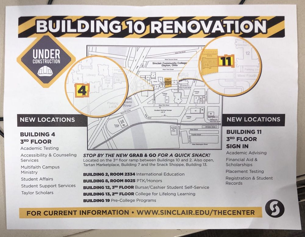 Building renovation map Necessity for FALL Semester - Yelp on sinclair college street map, sinclair library map, sinclair community college programs, sinclair community dayton ohio, sinclair community college parking, north central michigan college map, york college map, sinclair community college letter, sinclair campus map, sinclair community college library, east los angeles college map, sinclair dayton map, sinclair map of buildings, city college of san francisco map, sinclair community college logo, truman college map, northcentral university map, wilmington college map, sinclair community college calendar,