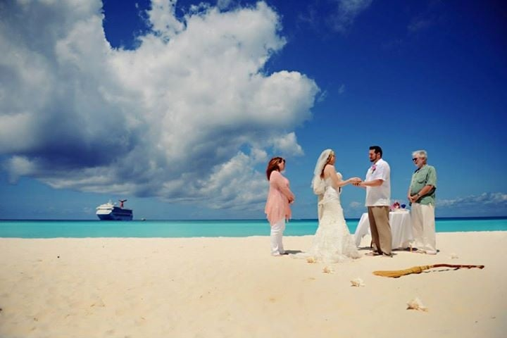 Our Wedding Day On Half Moon Cay With Our Ship The