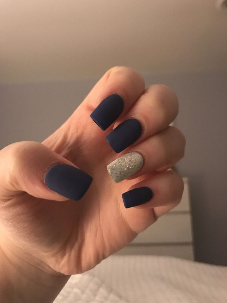 My beautiful prom nails! Acrylics with blue matte and a white ...