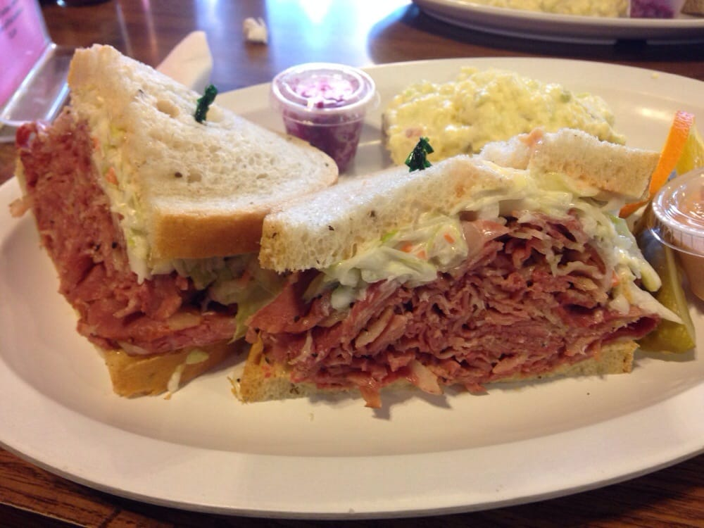 The Bagel Deli & Restaurant - Denver, CO, United States. Pastrami sandwich, New York style with potato salad
