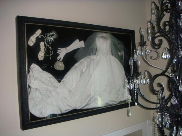 No project to big or small! Wedding dress & accessories framed by ...