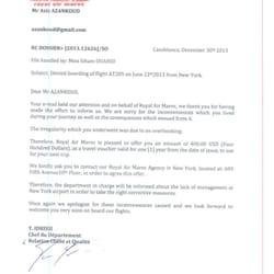 damaged luggage complaint letter