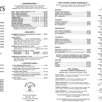 Fat Ivor S Restaurant Menu