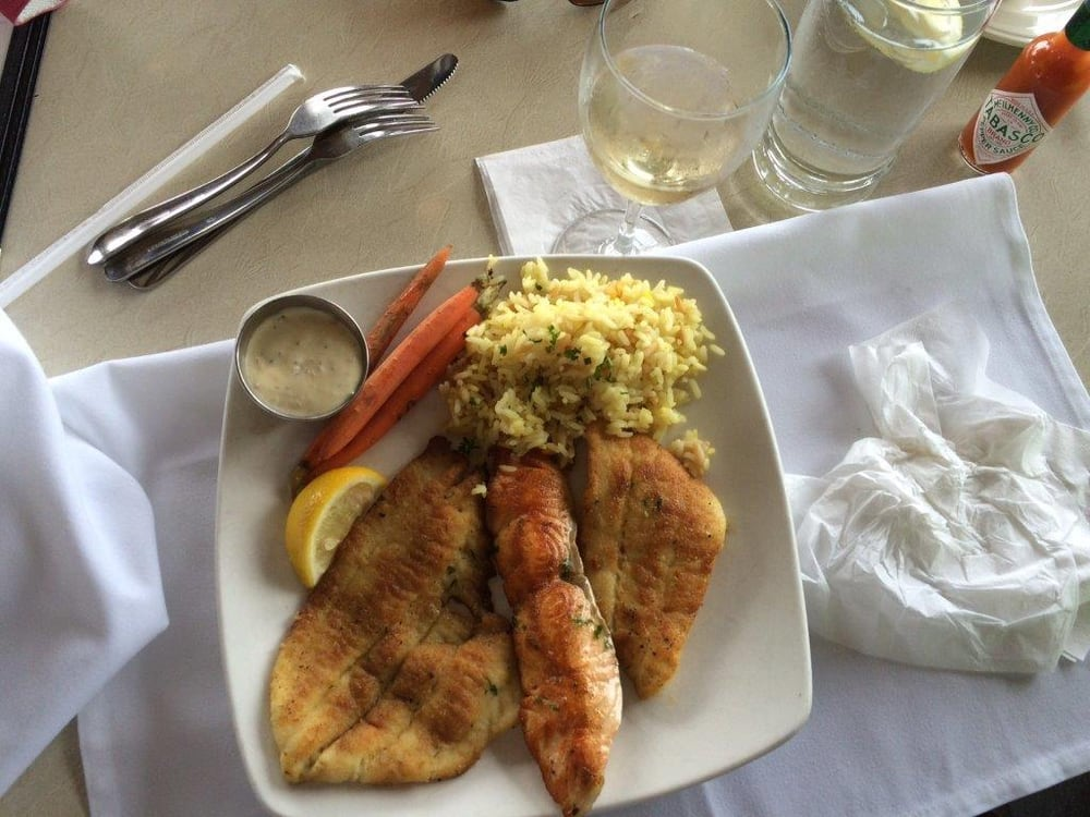 Shore combo halibut salmon cod rice pilaf seasonal for Anthony s fish grotto san diego