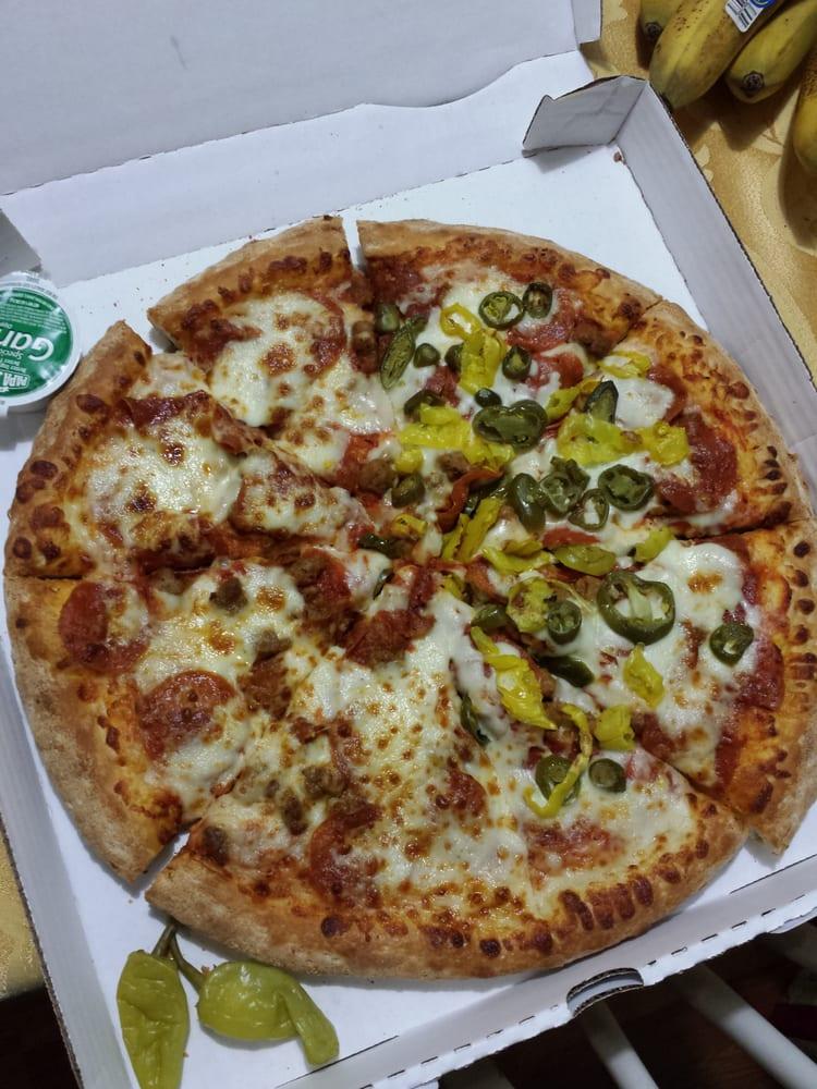 Spicy italian pizza with jalape o peppers and banana - Papa john s pizza garden fresh pizza ...