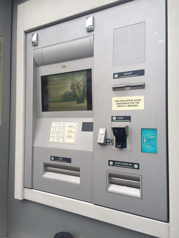 At left, one of the Chase ATMs