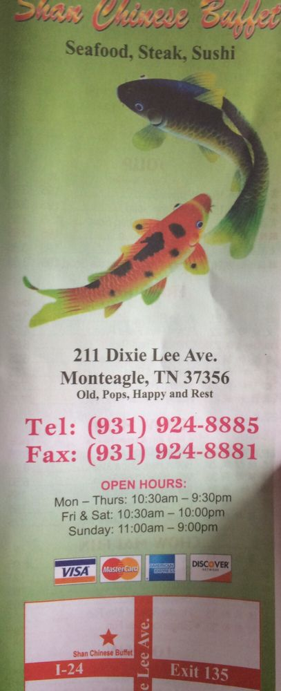 Shan Chinese Buffet: 211 Dixie Lee Ave, Monteagle, TN