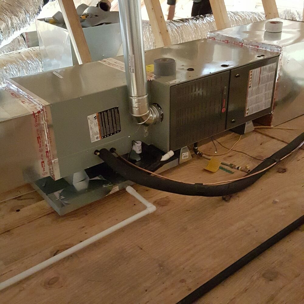 The complete horizontal installation of the Trane furnace