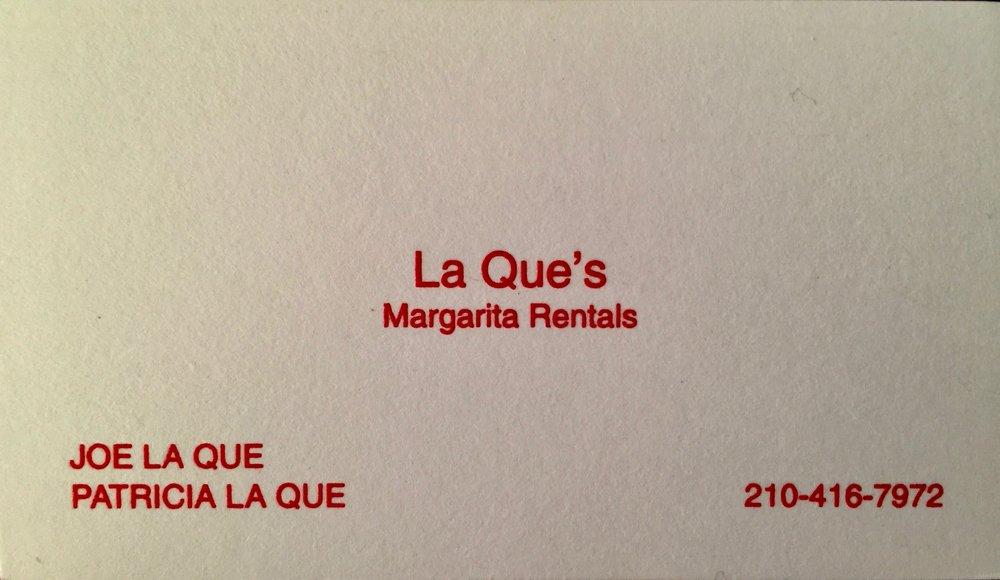 Laque's Margarita Machine Rentals: 234 Locknere Ln, San Antonio, TX