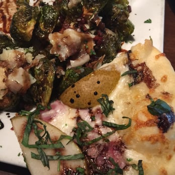 ... , OR, United States. Braised Brussel Sprouts with Pancetta Pear Pizza