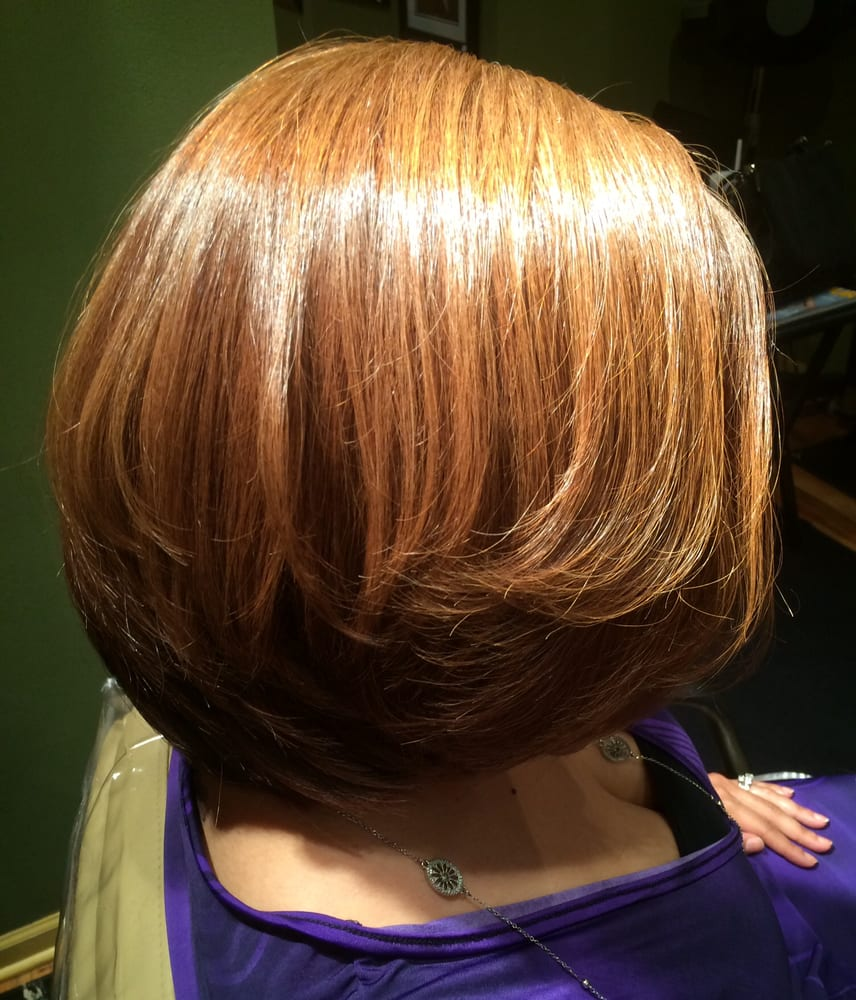 Cut Basic Bob With Graduation Color Caramel Base With Golden
