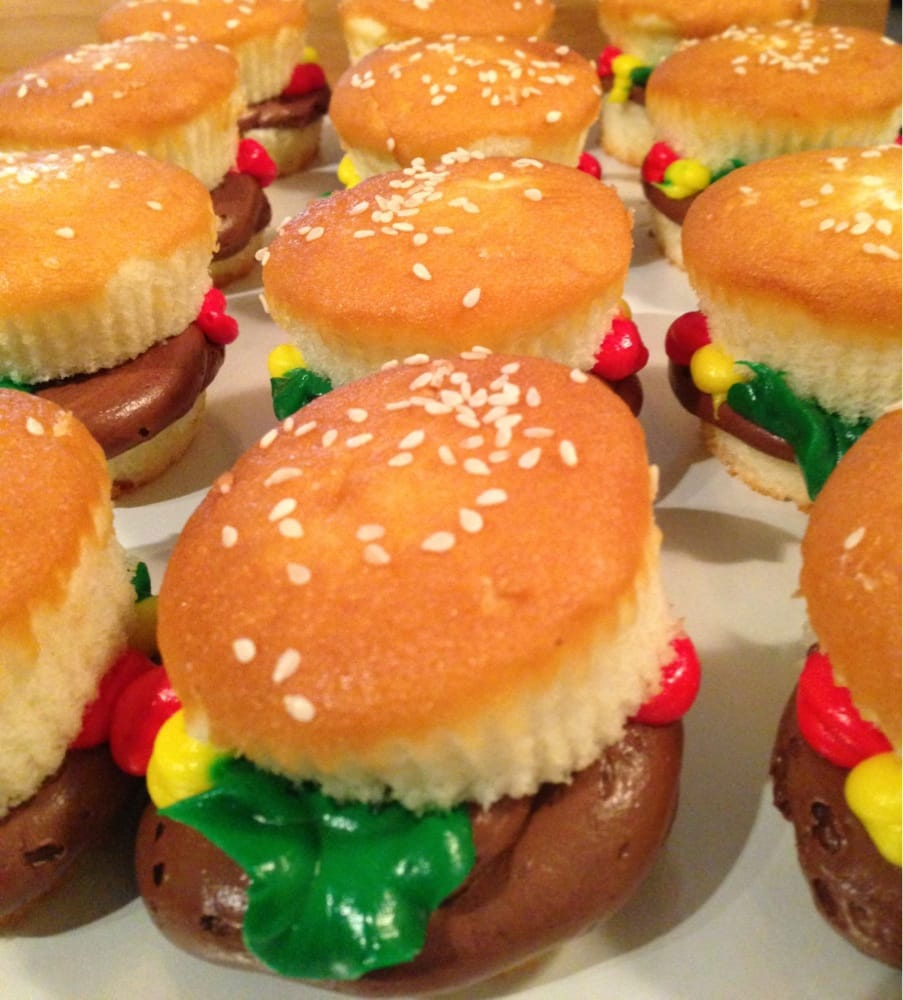 Awesome hamburger cupcakes from the bakery Those are real sesame