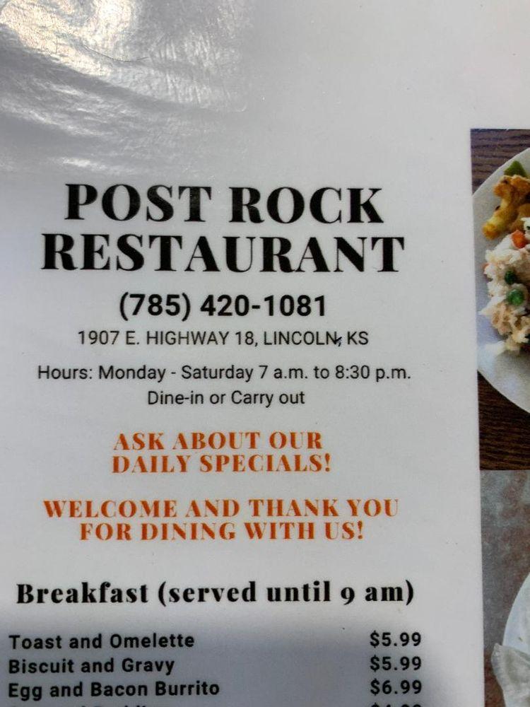 Post Rock Restaurant: 1907 KS-18, Lincoln, KS