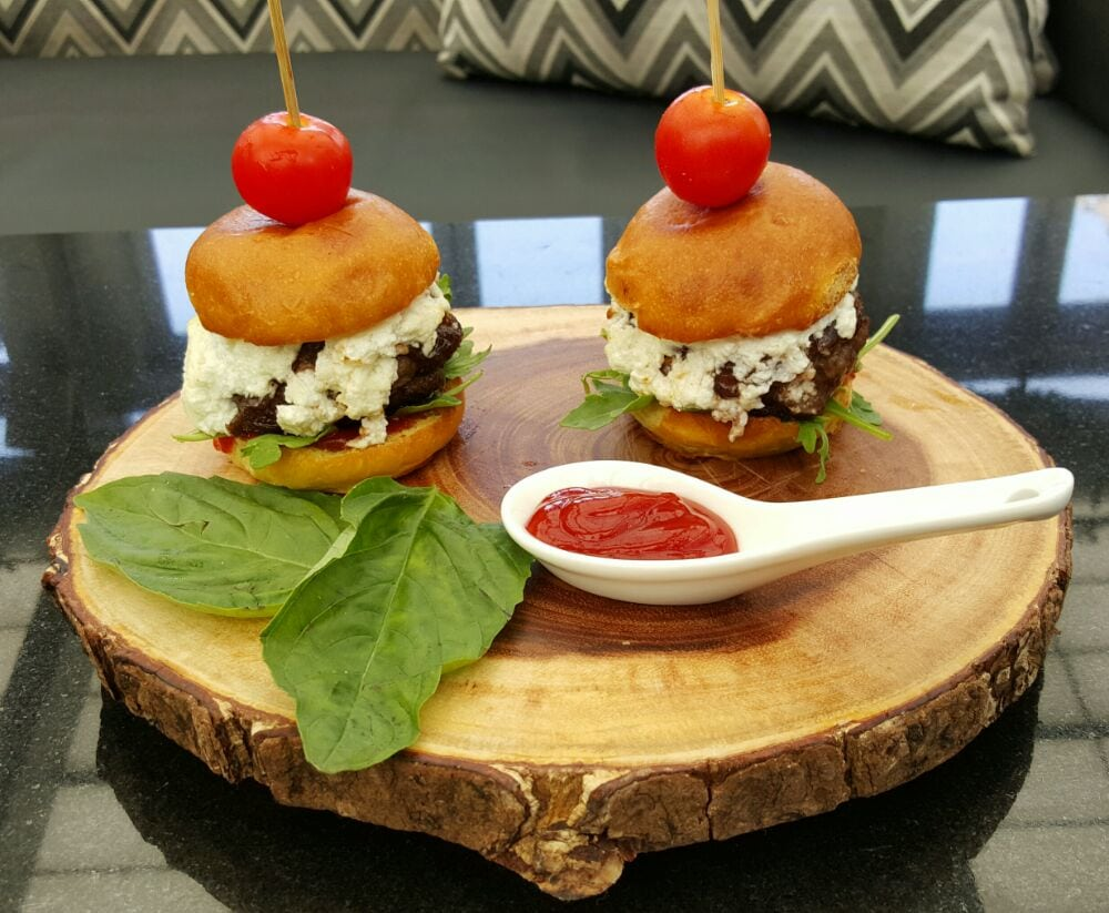 Photo of The Attic Rooftop & Lounge - New York, NY, United States. Grass Fed Beef Sliders w/ Caramelized Onions & Goat Cheese