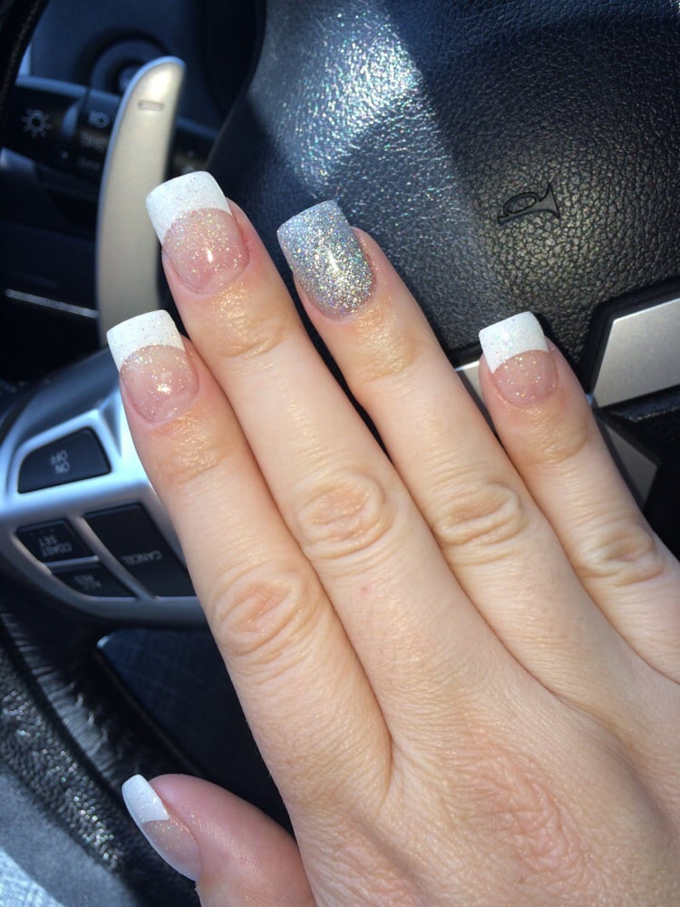 Tustin Auto Center >> White tip glitter acrylics with silver holographic accent ...