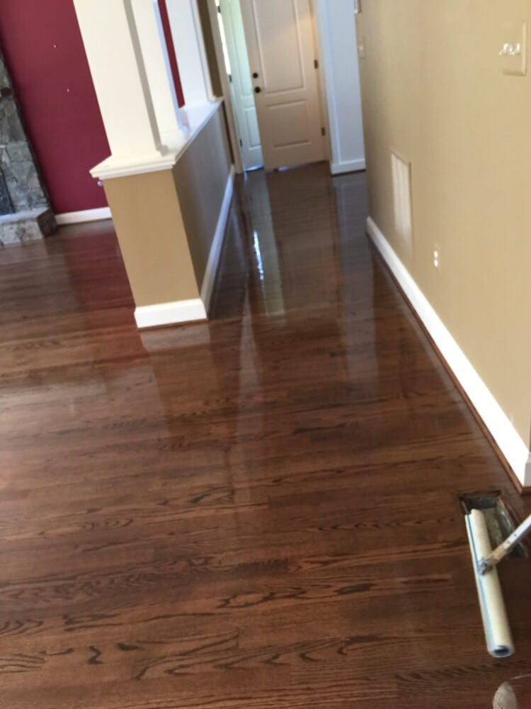 Sand Finish Of Hardwood Flooring With A Special Walnut Finish In
