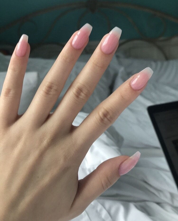 Pink acrylic powder nails by angel. Super nice and natural looking ...
