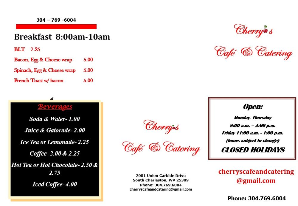 Cherry's Cafe & Catering: 2001 Union Carbide Dr, South Charleston, WV